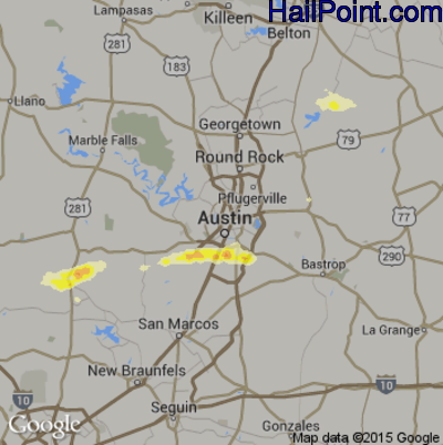 Hail Map for Austin, TX Region on April 14, 2014