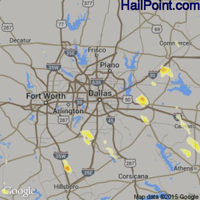 Hail Map for Dallas, TX Region on April 21, 2014