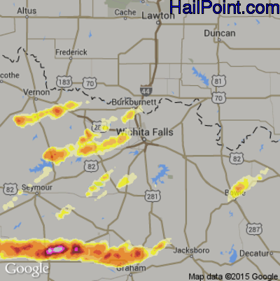 Hail Map for Wichita Falls, TX Region on April 24, 2014