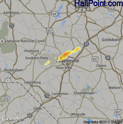 Hail Map for Fayetteville, NC Region on April 25, 2014