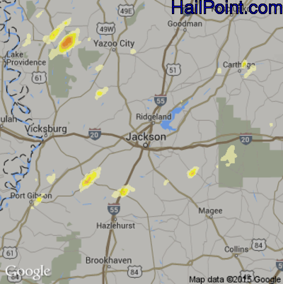 Hail Map for Jackson, MS Region on April 27, 2014
