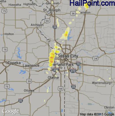 Hail Map for Kansas City, KS Region on April 27, 2014
