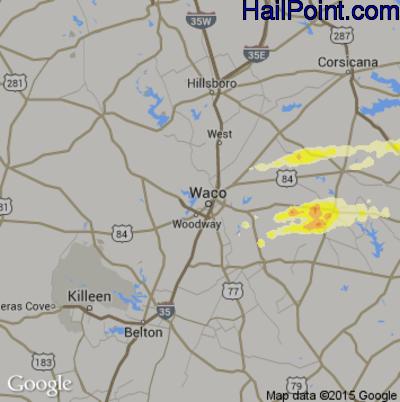 Hail Map for Waco, TX Region on April 28, 2014