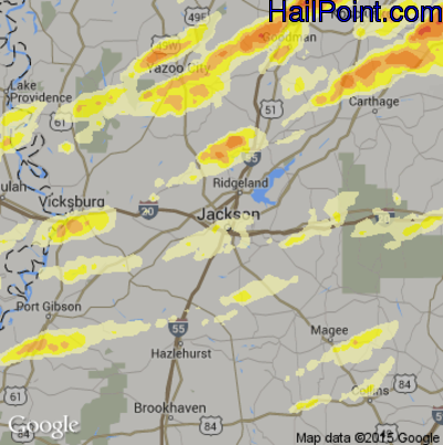 Hail Map for Jackson, MS Region on April 28, 2014