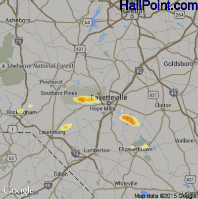 Hail Map for Fayetteville, NC Region on April 28, 2014