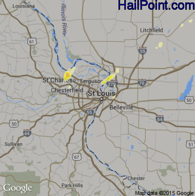 Hail Map for St. Louis, MO Region on April 28, 2014
