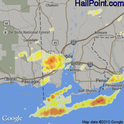 Hail Map for Mobile, AL Region on April 29, 2014