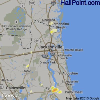 Hail Map for Jacksonville, FL Region on April 29, 2014