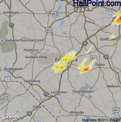 Hail Map for Fayetteville, NC Region on April 29, 2014
