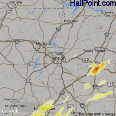 Hail Map for Raleigh, NC Region on April 29, 2014