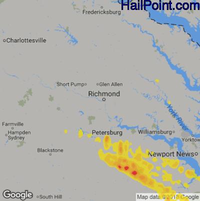 Hail Map for Richmond, VA Region on May 6, 2014