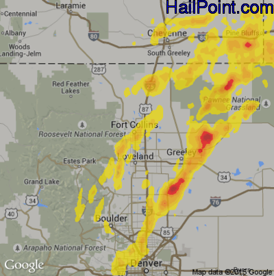 Hail Map for Fort Collins, CO Region on May 6, 2014