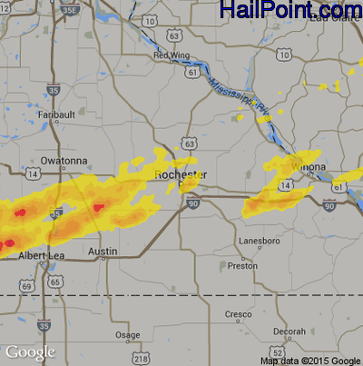 Hail Map for Rochester, MN Region on May 7, 2014