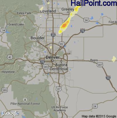 Hail Map for Denver, CO Region on May 7, 2014