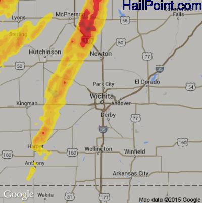 Hail Map for Wichita, KS Region on May 7, 2014