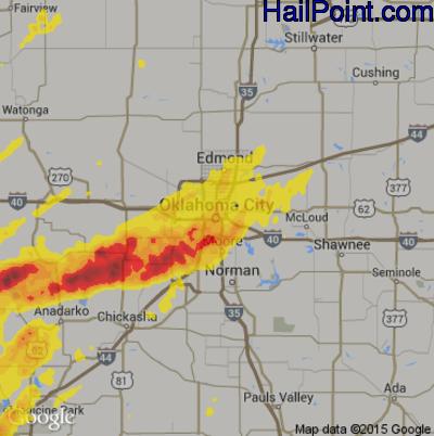 Hail Map for Oklahoma City, OK Region on May 7, 2014