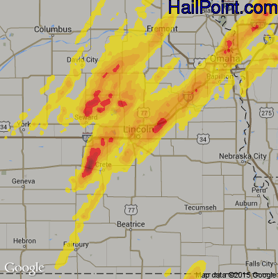 Hail Map for Lincoln, NE Region on May 8, 2014