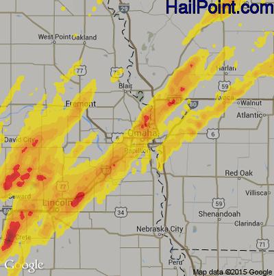 Hail Map for Omaha, NE Region on May 8, 2014
