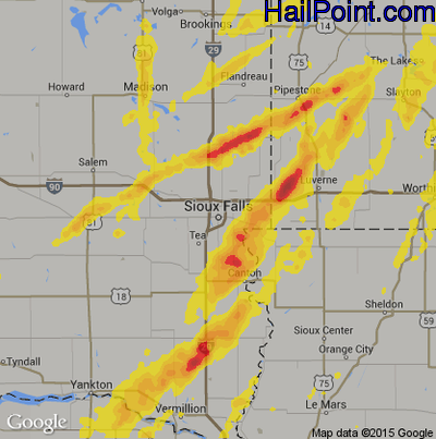 Hail Map for Sioux Falls, SD Region on May 8, 2014