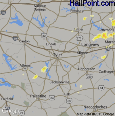 Hail Map for Tyler, TX Region on May 9, 2014