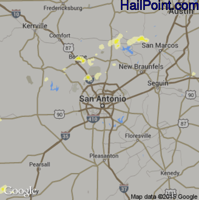 Hail Map for San Antonio, TX Region on May 9, 2014