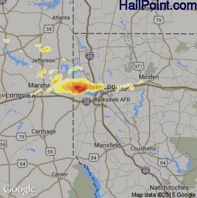 Hail Map for Shreveport, LA Region on May 9, 2014