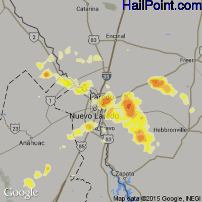 Hail Map for Laredo, TX Region on May 9, 2014
