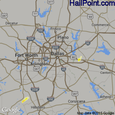 Hail Map for Dallas, TX Region on May 10, 2014