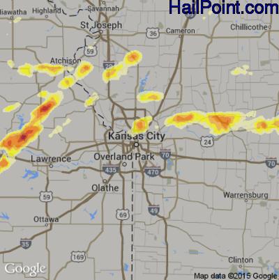 Hail Map for Kansas City, MO Region on May 10, 2014