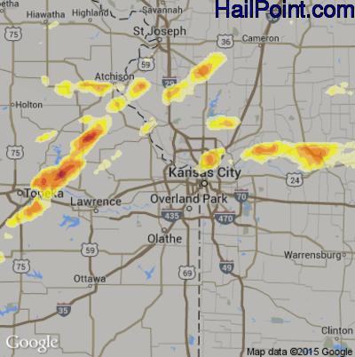 Hail Map for Kansas City, KS Region on May 10, 2014