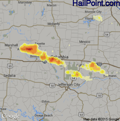 Hail Map for Columbia, MO Region on May 11, 2014