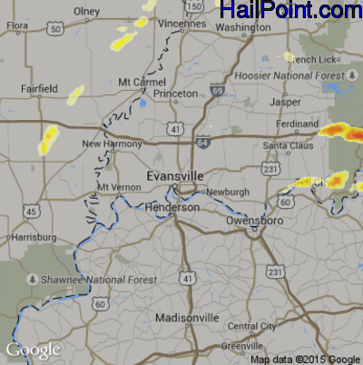 Hail Map for Evansville, IN Region on May 11, 2014