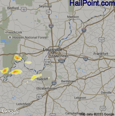 Hail Map for Louisville, KY Region on May 11, 2014