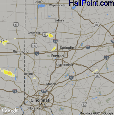 Hail Map for Dayton, OH Region on May 11, 2014