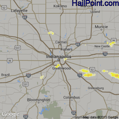 Hail Map for Indianapolis, IN Region on May 11, 2014