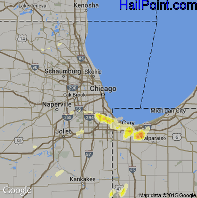 Hail Map for Chicago, IL Region on May 11, 2014