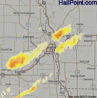 Hail Map for Omaha, NE Region on May 11, 2014