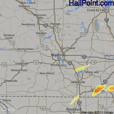 Hail Map for Madison, WI Region on May 12, 2014