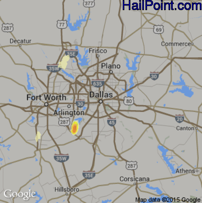 Hail Map for Dallas, TX Region on May 12, 2014