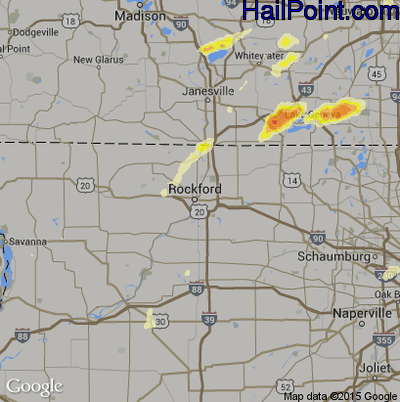 Hail Map for Rockford, IL Region on May 12, 2014