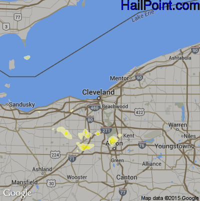 Hail Map for Cleveland, OH Region on May 12, 2014