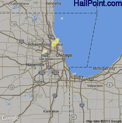 Hail Map for Chicago, IL Region on May 12, 2014