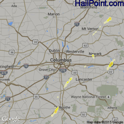 Hail Map for Columbus, OH Region on May 14, 2014