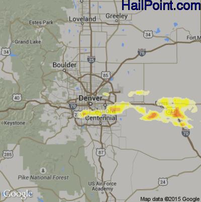 Hail Map for Denver, CO Region on May 20, 2014