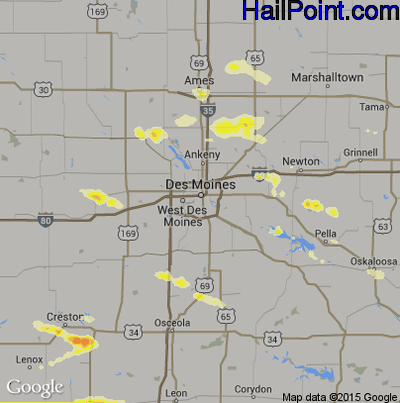 Hail Map for Des Moines, IA Region on May 20, 2014