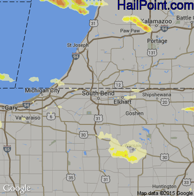 Hail Map for South Bend, IN Region on May 21, 2014