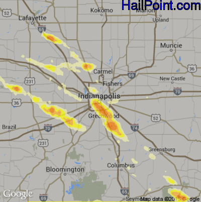 Hail Map for Indianapolis, IN Region on May 21, 2014