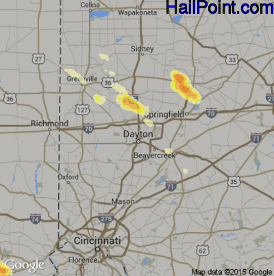 Hail Map for Dayton, OH Region on May 21, 2014
