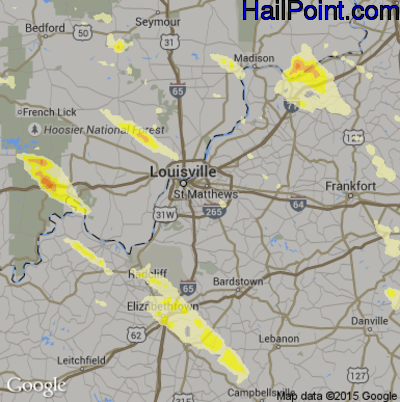 Hail Map for Louisville, KY Region on May 21, 2014