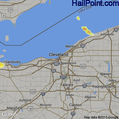 Hail Map for Cleveland, OH Region on May 22, 2014